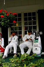 Caddies Relaxing at The Masters