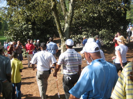 Tiger Woods Walking with Patrons at the 2010 Masters