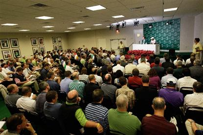 A View from the back of the media room at the Tiger Woods Press Conference