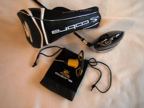 The ZL Driver, bag with AFT face adjustment tool, and headcover