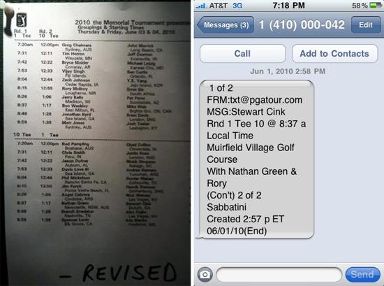 PGA Tour Texts Players their Tee Times